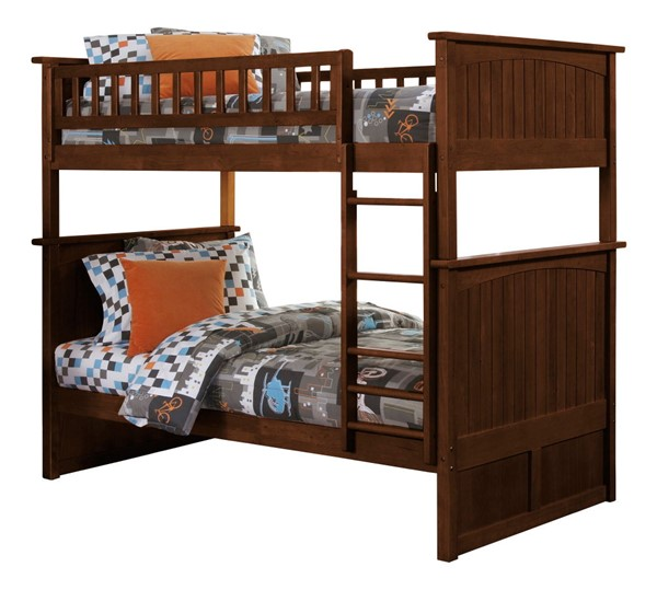 Atlantic Furniture Nantucket Walnut Twin Over Twin Bunk Bed AB59104