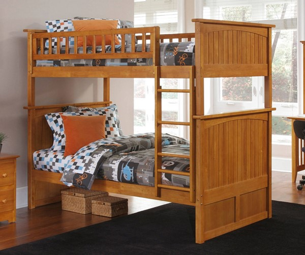 Atlantic Furniture Nantucket Caramel Latte Twin Over Twin Bunk Bed AB59107