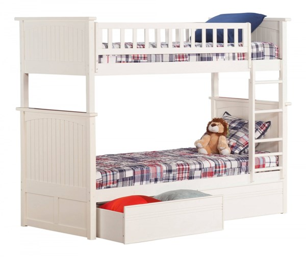 Nantucket White Wood Twin/Twin Flat Panel Drawers Bunk Bed AB59112
