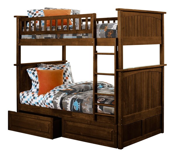 Atlantic Furniture Nantucket Walnut Raised Panel Drawers Twin Over Twin Bunk Bed AB59124
