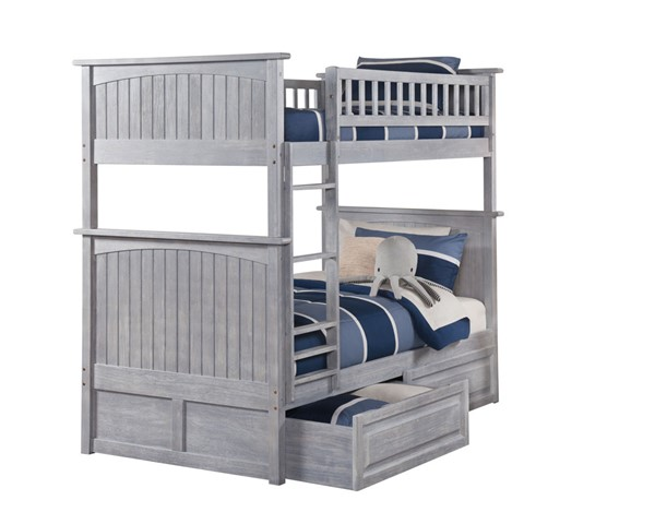Atlantic Furniture Nantucket Driftwood 2 Raised Panel Drawers Twin Over Twin Bunk Bed AB59128