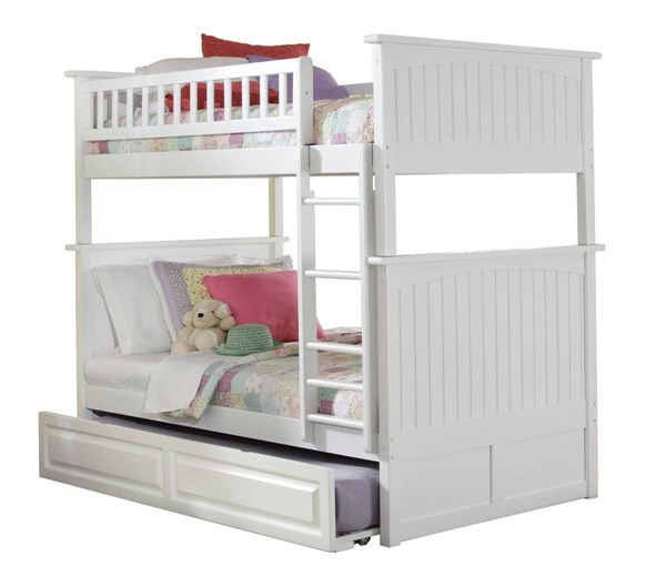 Atlantic Furniture Nantucket White Twin Over Twin Bunk Bed with Raised Panel Trundle AB59132