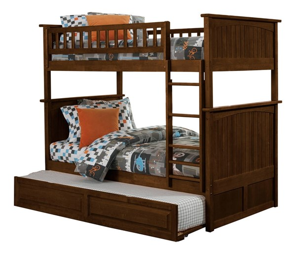 Nantucket Walnut Wood Twin/Twin Raised Panel Trundle Bunk Bed AB59134