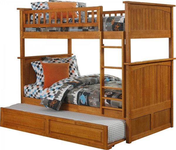 Nantucket Caramel Latte Twin/Twin Raised Panel Trundle Bunk Bed AB59137