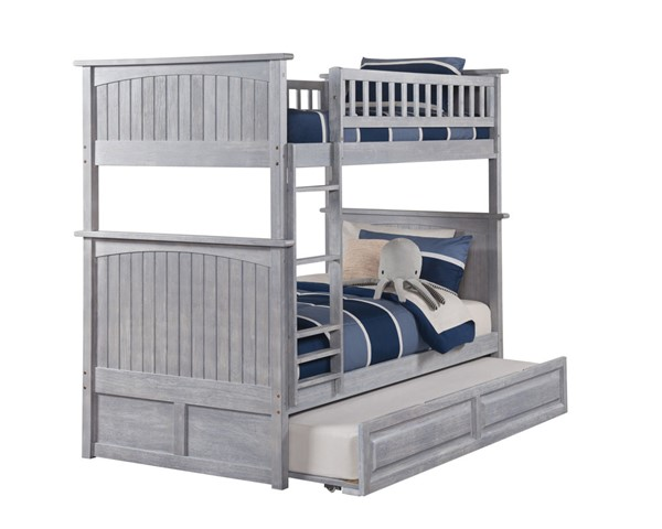 Atlantic Furniture Nantucket Twin Over Twin Bunk Beds with Raised Panel Trundle AB5913-TRNDL-BNK-BEDS-VAR