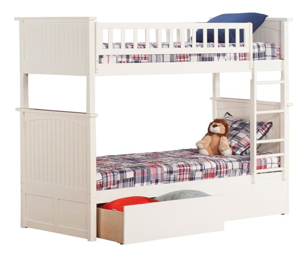 Atlantic Furniture Nantucket White Twin Over Twin Bunk Bed with 2 Urban Drawers AB59142