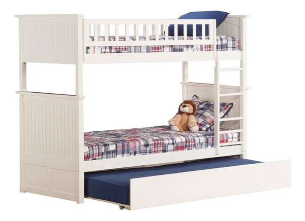 Atlantic Furniture Nantucket White Twin Over Twin Bunk Bed with Twin Urban Trundle AB59152