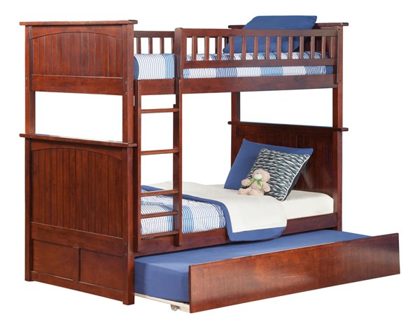 Atlantic Furniture Nantucket Walnut Twin Over Twin Bunk Bed with Twin Urban Trundle AB59154