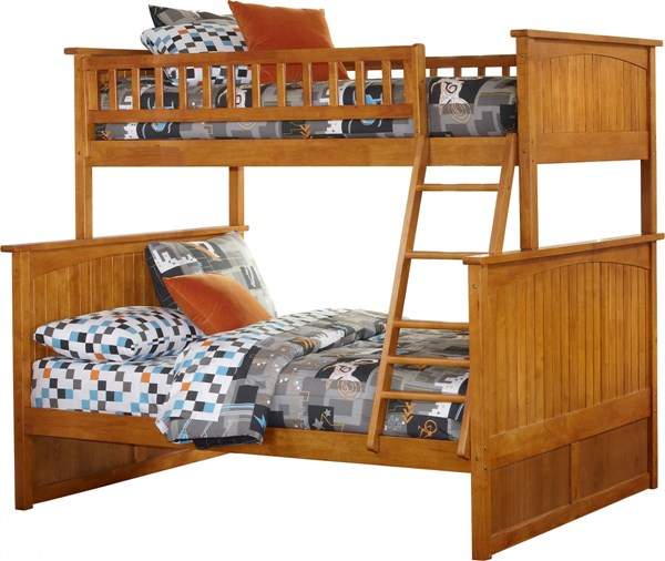 Nantucket Caramel Latte Wood Twin/Full Built In Ladder Bunk Bed AB59207