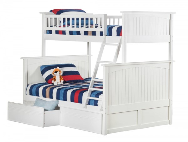 Nantucket White Wood Twin/Full Flat Panel Drawers Bunk Bed AB59212