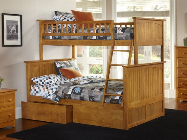 Nantucket Caramel Latte Wood Twin/Full Flat Panel Drawer Bunk Bed AB59217