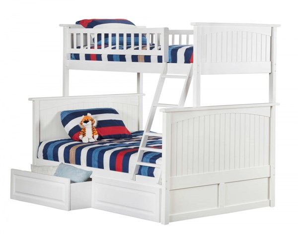 Nantucket White Wood Twin/Full Raised Panel Drawers Bunk Bed AB59222