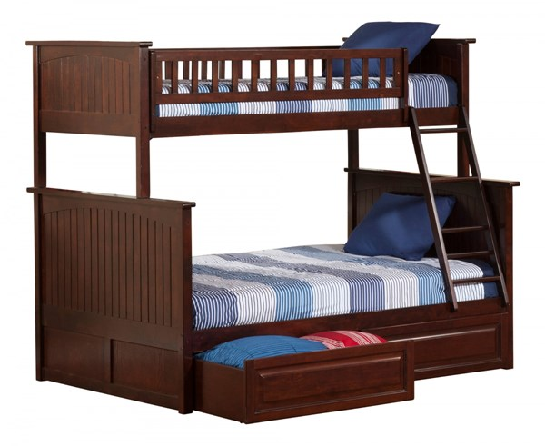 Atlantic Furniture Nantucket Walnut 2 Raised Panel Drawers Twin Over Full Bunk Bed AB59224