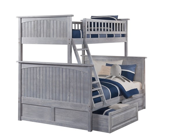 Atlantic Furniture Nantucket Driftwood 2 Raised Panel Drawers Twin Over Full Bunk Bed AB59228