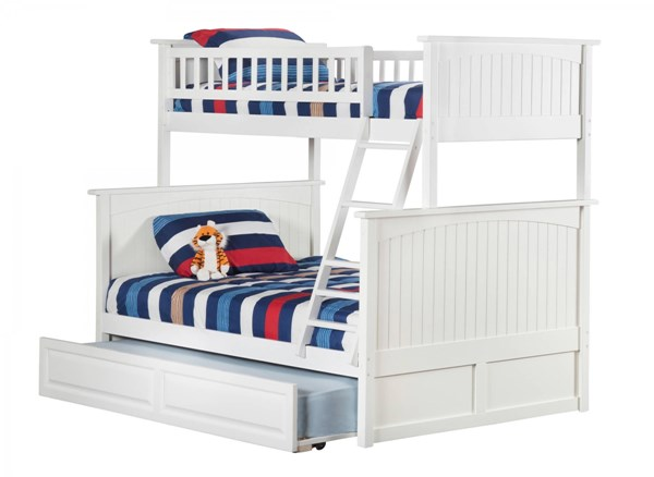 Atlantic Furniture Nantucket White Twin Over Full Bunk Bed with Twin Raised Panel Trundle AB59232