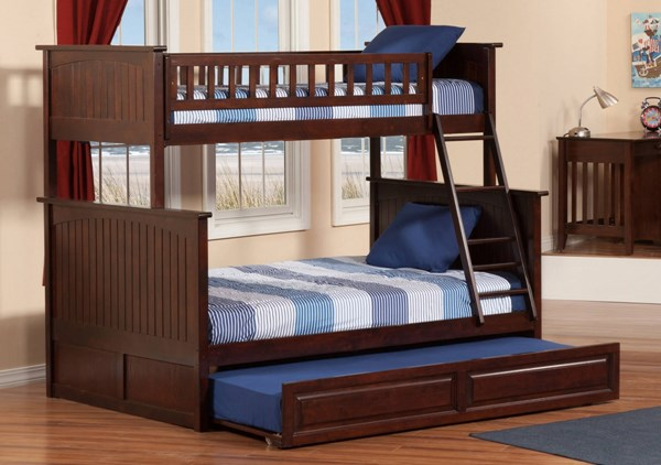 Atlantic Furniture Nantucket Walnut Twin Over Full Bunk Bed with Raised Panel Trundle AB59234