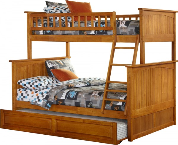 Nantucket Caramel Latte Twin/Full Raised Panel Trundle Bunk Bed AB59237