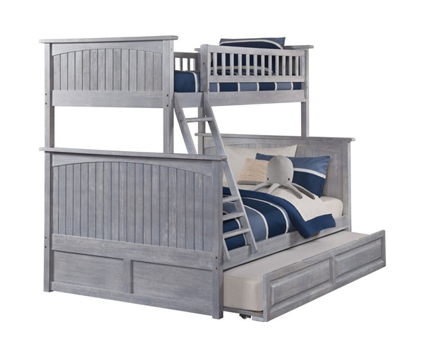 Atlantic Furniture Nantucket Driftwood Twin Over Full Bunk Bed with Raised Panel Trundle AB59238