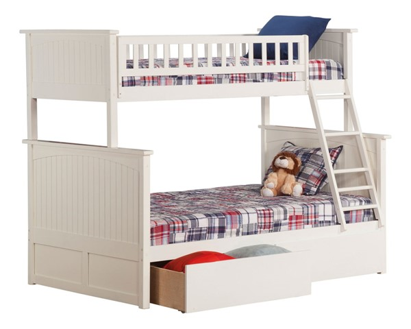 Atlantic Furniture Nantucket White Twin Over Full Bunk Bed with 2 Urban Drawers AB59242