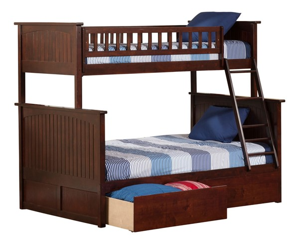 Atlantic Furniture Nantucket Walnut Twin Over Full Bunk Bed with 2 Urban Drawers AB59244