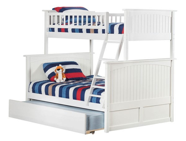 Atlantic Furniture Nantucket White Twin Over Full Bunk Bed with Twin Urban Trundle AB59252