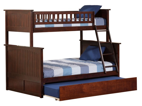 Atlantic Furniture Nantucket Walnut Twin Over Full Bunk Bed with Twin Urban Trundle AB59254