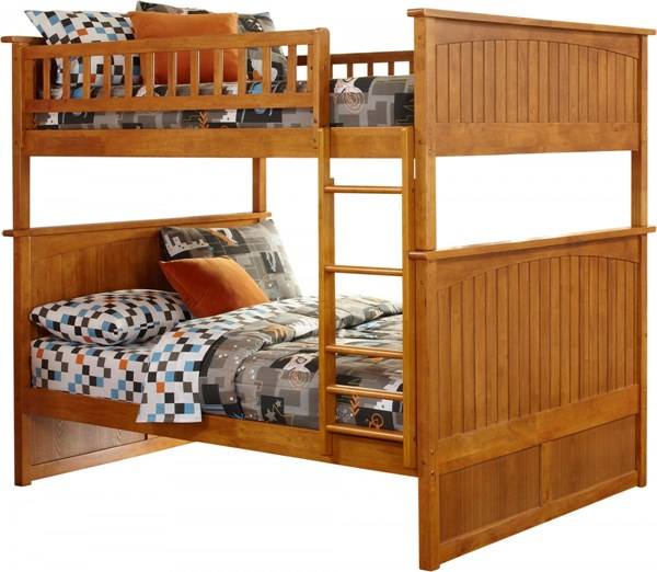 Nantucket Caramel Latte Wood Full/Full Built In Ladder Bunk Bed AB59507