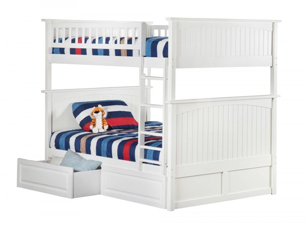 Atlantic Furniture Nantucket White 2 Raised Panel Drawers Full Over Full Bunk Bed AB59522