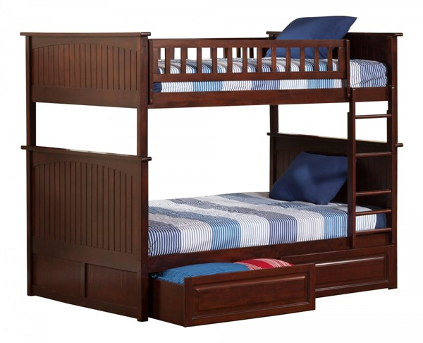 Nantucket Walnut Wood Full/Full Raised Panel Drawers Bunk Bed AB59524