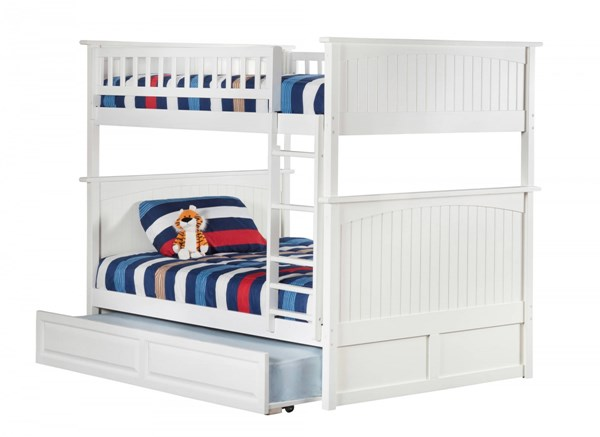 Atlantic Furniture Nantucket White Full Over Full Bunk Bed with Raised Panel Trundle AB59532