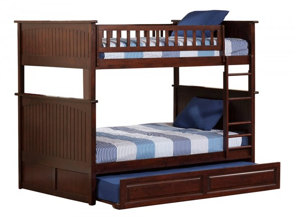 Atlantic Furniture Nantucket Walnut Full Over Full Bunk Bed with Twin Raised Panel Trundle AB59534