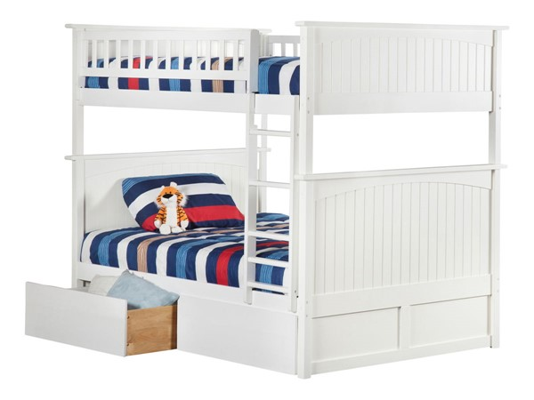 Atlantic Furniture Nantucket White Full Over Full Bunk Bed with 2 Urban Bed Drawers AB59542