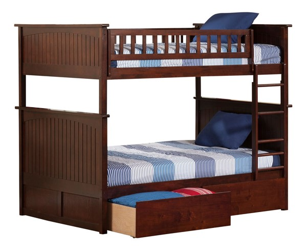 Atlantic Furniture Nantucket Walnut Full Over Full Bunk Bed with 2 Urban Bed Drawers AB59544