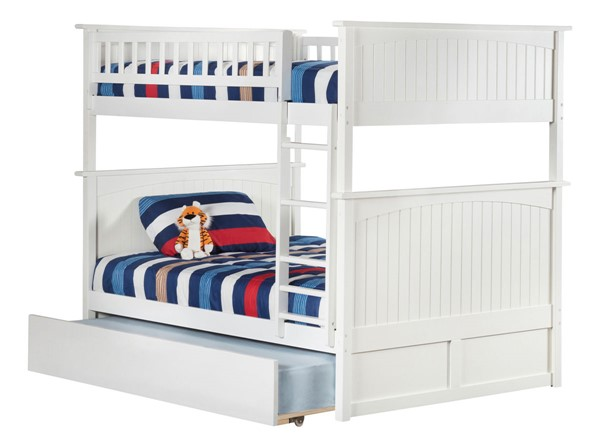 Atlantic Furniture Nantucket White Full Over Full Bunk Bed with Twin Urban Trundle AB59552