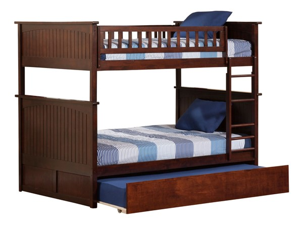 Atlantic Furniture Nantucket Walnut Full Over Full Bunk Bed with Twin Urban Trundle AB59554