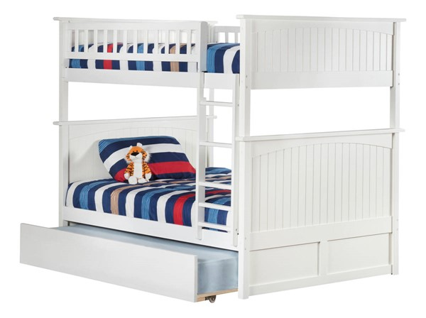 Atlantic Furniture Nantucket White Full Over Full Urban Trundle Bunk Bed AB59572