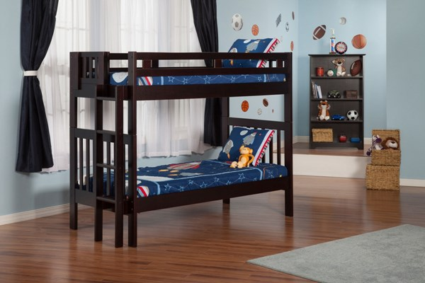 Cascade Classic Espresso Solid Wood Bunk Beds w/Built In Ladder AB63-BUNK-VAR