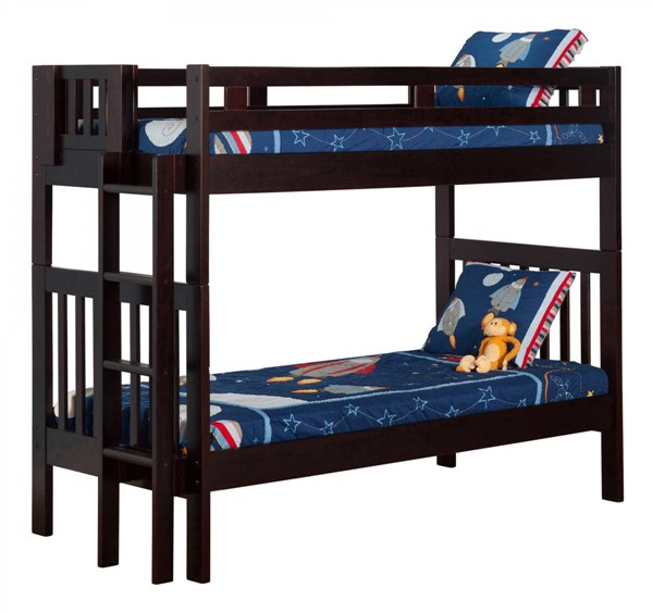 Cascade Espresso Wood Twin/Twin Built In Ladder Bunk Bed AB63101