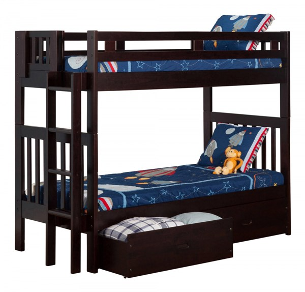 Cascade Espresso Solid Wood Twin/Twin Drawers Storage Bunk Bed AB63111