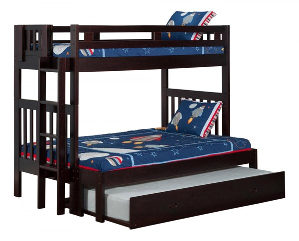Cascade Espresso Solid Wood Twin/Full Trundle Storage Bunk Bed AB63231