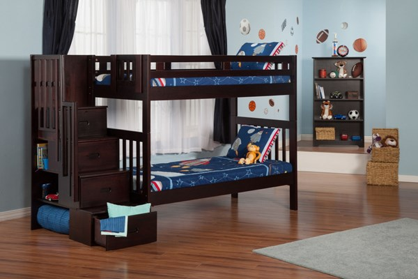 Cascade Classic Espresso Solid Wood Staircase Twin/Twin Bunk Bed AB63-BUNK-VAR2