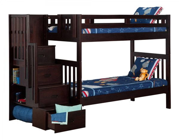 Cascade Espresso Wood Staircase Twin/Twin Bunk Bed AB63601