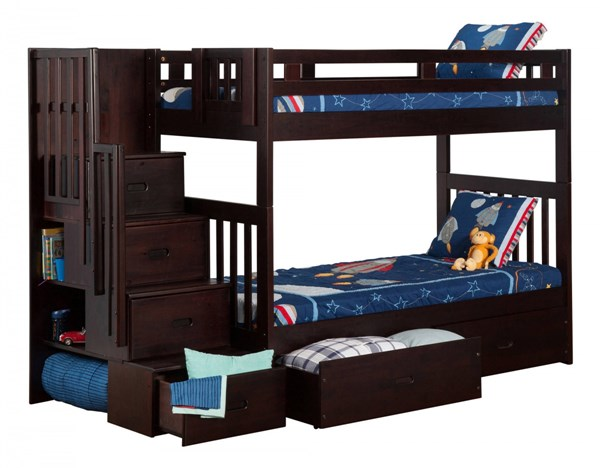 Cascade Espresso Wood Staircase Twin/Twin Drawers Storage Bunk Bed AB63611