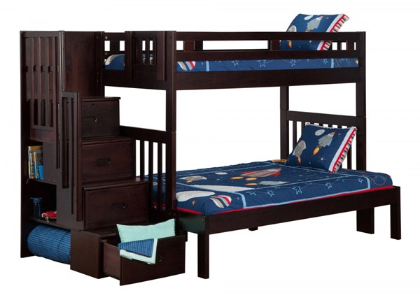 Cascade Espresso Wood Staircase Twin Full Bunk Bed The