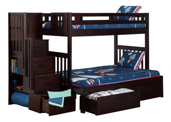 Cascade Espresso Wood Staircase Twin/Full Drawers Storage Bunk Bed AB63711