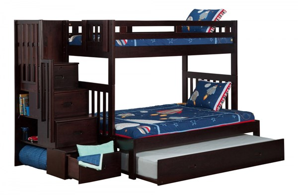 Cascade Espresso Wood Staircase Twin/Full Trundle Storage Bunk Bed AB63731