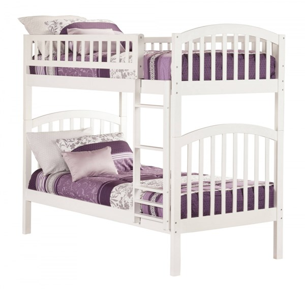 Richland White Wood Twin/Twin Built In Ladder Bunk Bed AB64102