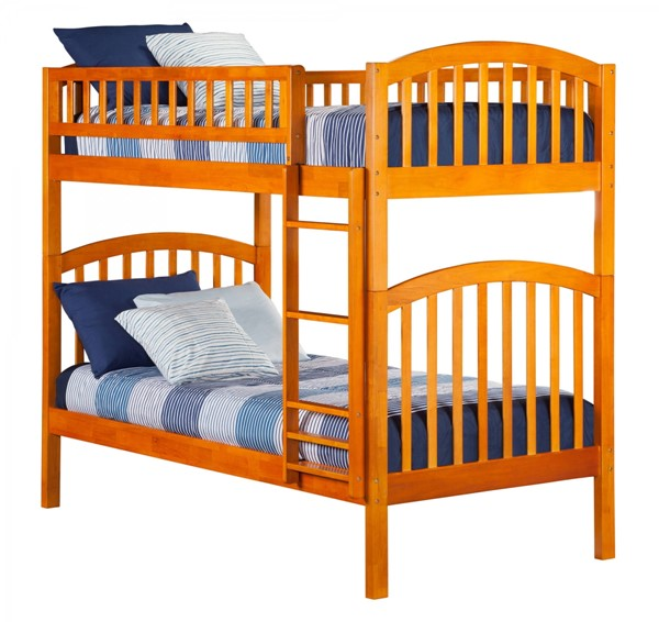 Richland Caramel Latte Wood Twin/Twin Built In Ladder Bunk Bed AB64107