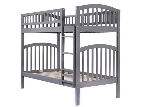 Atlantic Furniture Richland Grey Twin over Twin Bunk Bed AB64109