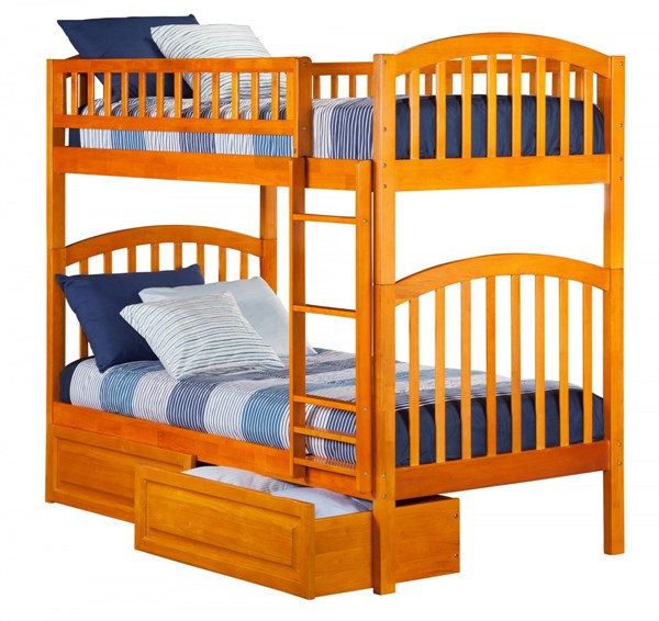 Richland Caramel Latte Wood Twin/Twin Raised Panel Drawers Bunk Bed AB64127
